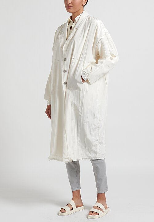Umit Unal Pure Silk Notched Lapel Coat in Off White