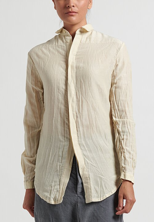 Umit Unal Silk-Blend Longsleeve Shirt in Light Yellow