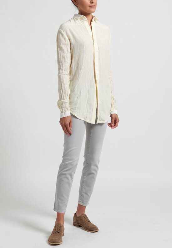 Umit Unal Silk-Blend Longsleeve Shirt in Off White
