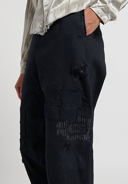 Umit Unal Specially Dyed Patchwork Jean Pants in Black