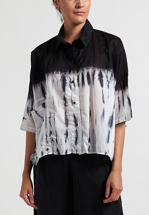 Gilda Midani Waterfall Pattern Dyed Pocket Shirt in Black and White