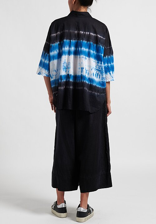 Gilda Midani Pattern Dyed Pocket Shirt in Blue Row