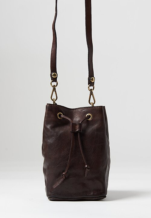 Campomaggi Leather Cinch Top Bucket Bag Brown