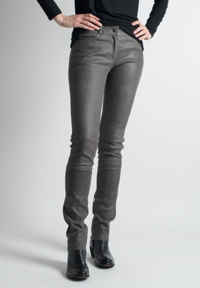 Ventcouvert Stretch Leather Jean Cut Pants in Gris