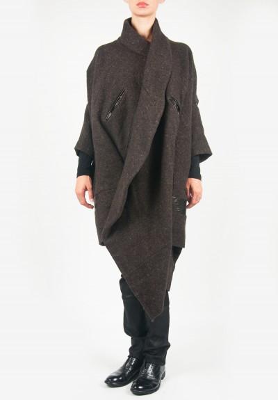 Gary Graham Wool Cocoon Coat In Grey Brown Santa Fe Dry