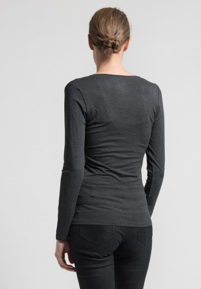 Majestic Long Sleeve V-Neck Top in Charcoal