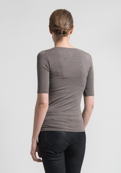 Majestic 3/4 Sleeve Scoop Neck Top in Taupe