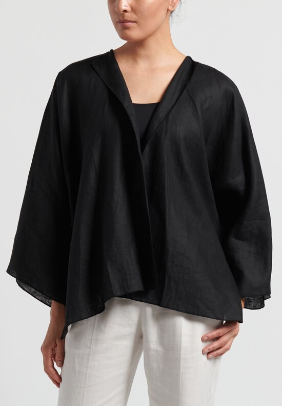 Shi Linen Open Cardigan in Black