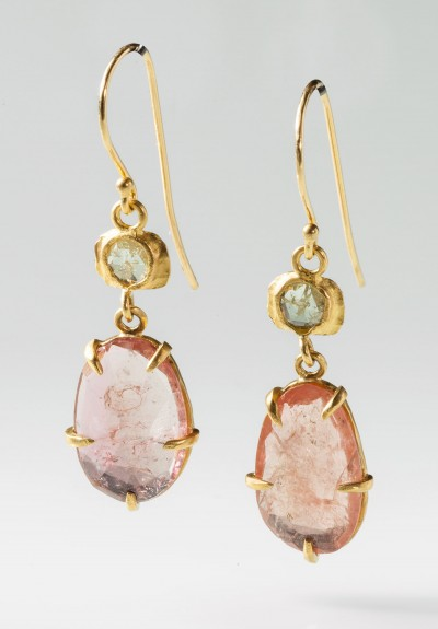 Margery Hirschey Pink Tourmaline and Diamond Earrings