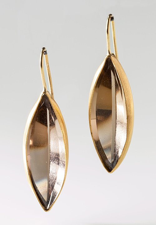 Heike Grebenstein Elliptical Smoky Quartz 22k Navette Earrings