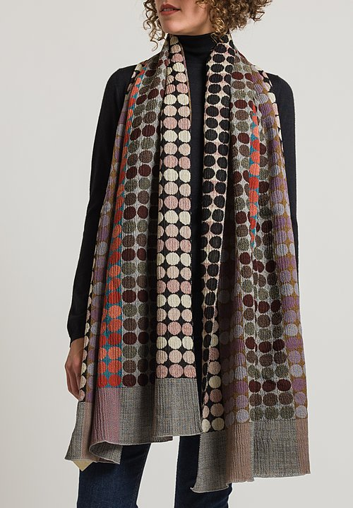 Nuno Circle Brick Pattern Wool Shawl in Red Mix