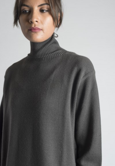 ... Rick Owens Maglia Moody Cashmere Turtle Neck Tunic Sweater in Darkdust