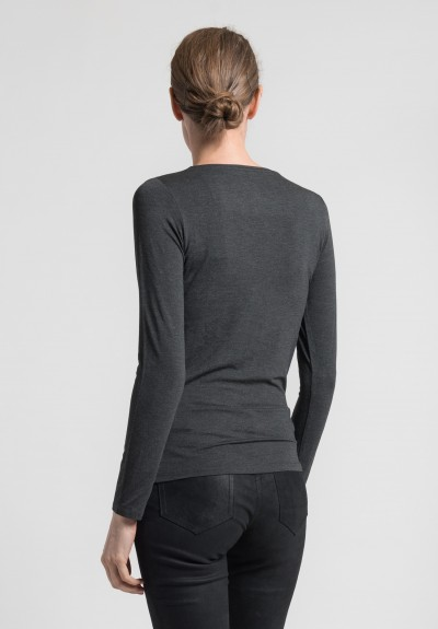Majestic Long Sleeve Crew Neck Top in Charcoal