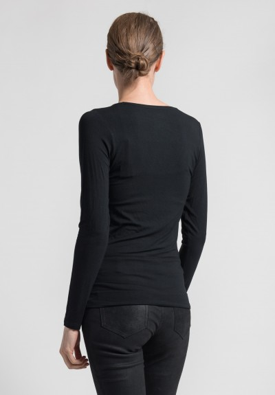Majestic Long Sleeve V-Neck Top in Noir