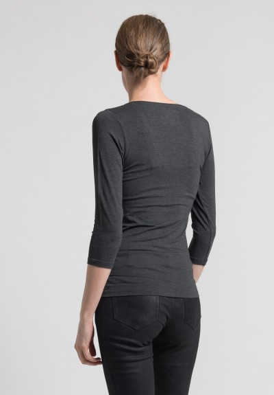 Majestic 3/4 Sleeve V-Neck Top in Charcoal