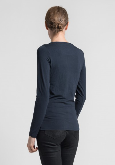 Majestic Viscose Crew Neck Top in Marine