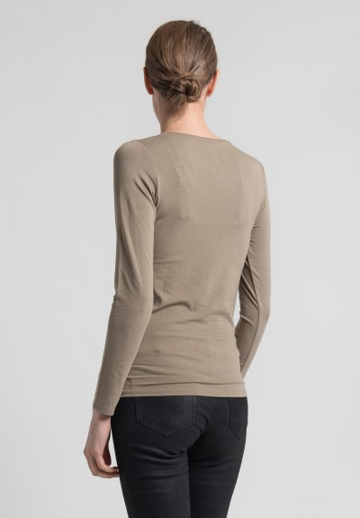 Majestic Long Sleeve Crew Neck Top in Cigare