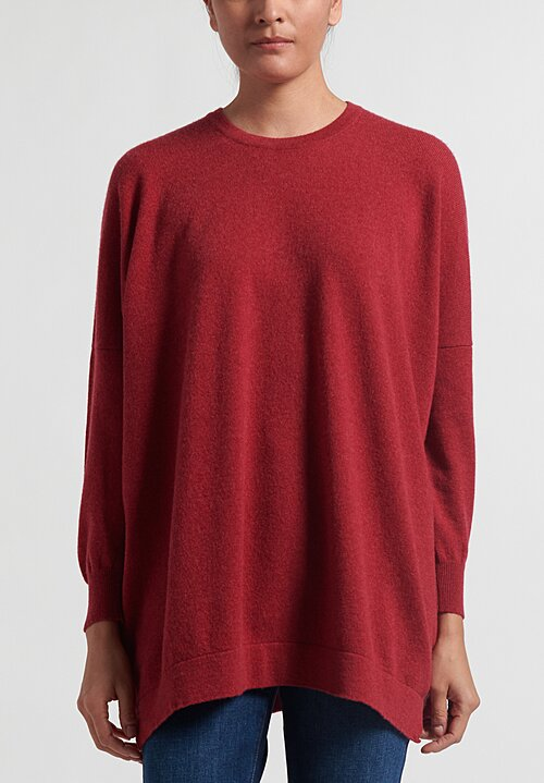 Hania New York Cashmere Crewneck Sweater in Petunia Pink