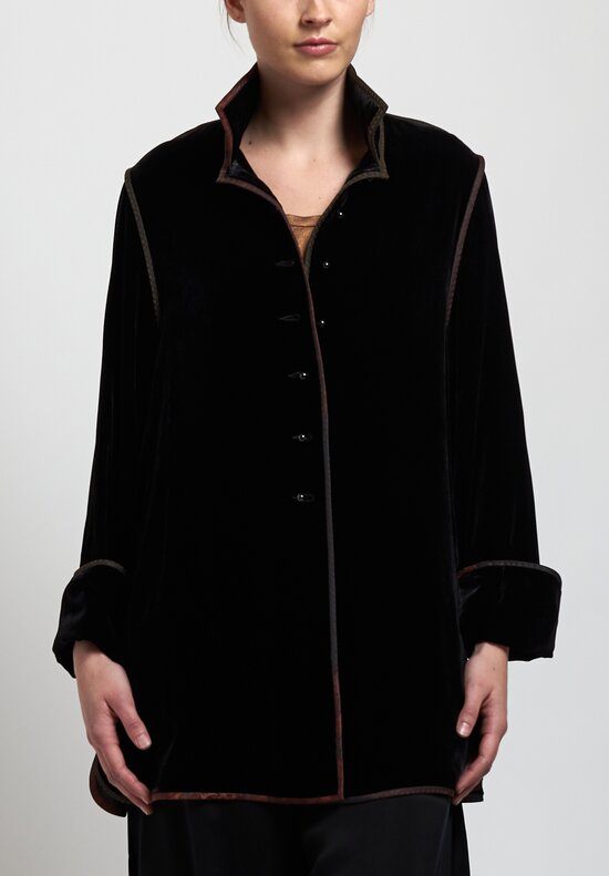 Sophie Hong Short Velvet Jacket in Black