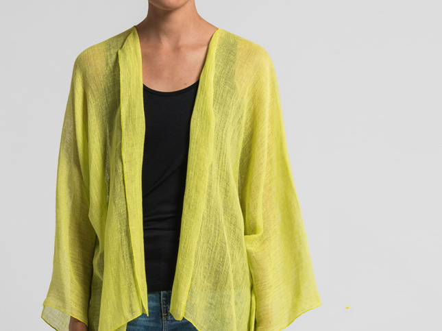 New Shi Cashmere lime green linen cardigan | Santa Fe Dry Goods & Workshop