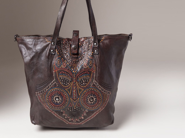 New Campomaggi Paint and Stud Mask Design Leather Tote Dark Brown Handbag | Santa Fe Dry Goods & Workshop