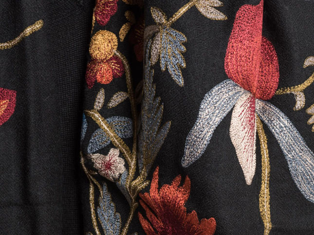 New Janavi Cashmere Intricate Floral Embroidery Scarf Black | Santa Fe Dry Goods & Workshop