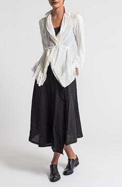 Marc Le Bihan Sheer Silk & Pinstripe Jacket in Off White & Marc Le Bihan Linen Wrap Skirt in Black | Santa Fe Dry Goods & Workshop