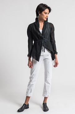 Marc Le Bihan Sheer Silk Tailored Jacket in Black | Santa Fe Dry Goods & Workshop