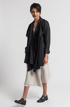 Marc Le Bihan Linen Faux Shawl Lapel Blazer in Black and Marc Le Bihan Linen Wrap Skirt in Natural | Santa Fe Dry Goods & Workshop