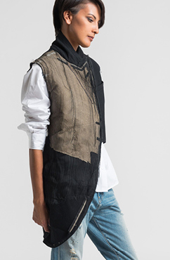 Marc Le Bihan Asymmetric Deconstructed Vest in Black | Santa Fe Dry Goods & Workshop