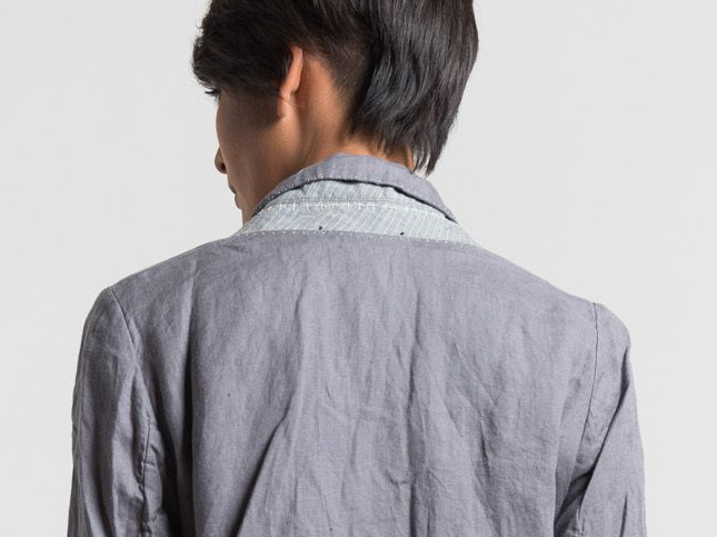 Umit Unal grey jacket collar details | Santa Fe Dry Goods & Workshop