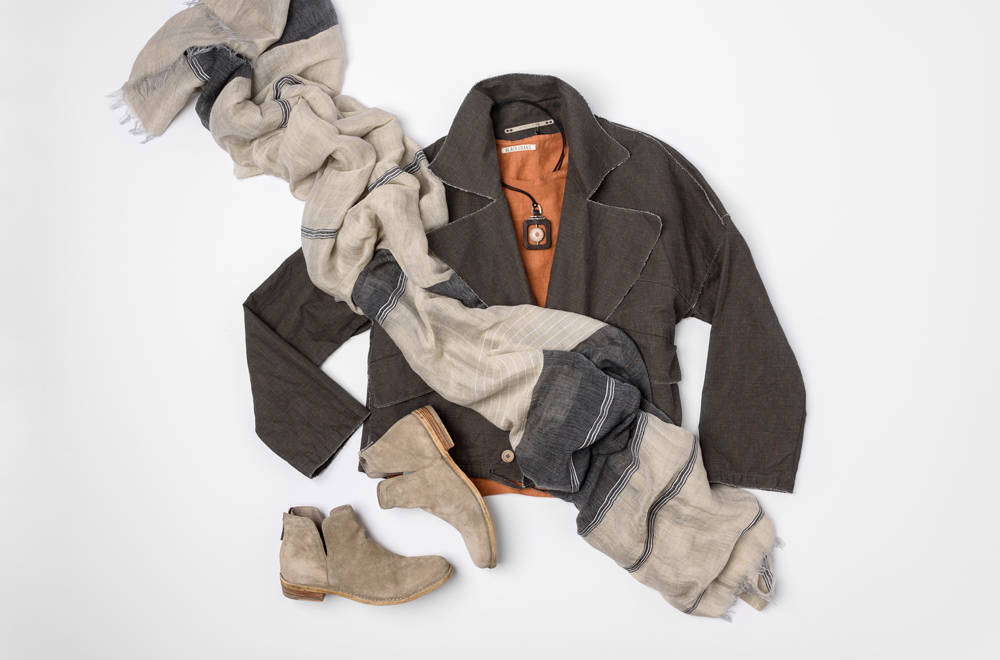 Annette Görtz Double Breasted Jacket, Annette Görtz off-white scarf, Black Crane Orange LInen Shirt, and Officine Creative Suede Leather Boot | Santa Fe Dry Goods & Workshop