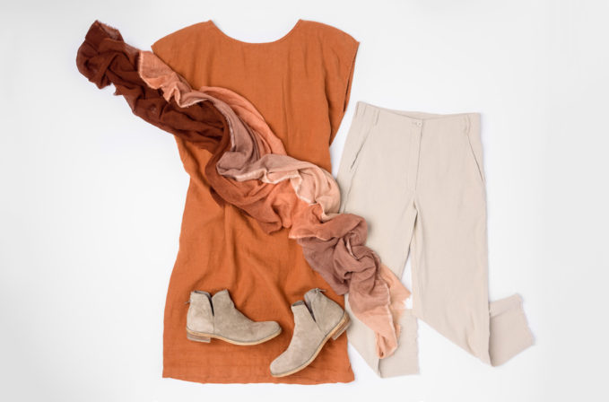 Annette Görtz Tan Pants, Black Crane Rust Linen Dress, Faliero Sarti Ombre Orange Scarf, and Officine Creative Brown Leather Boots | Santa Fe Dry Goods & Workshop