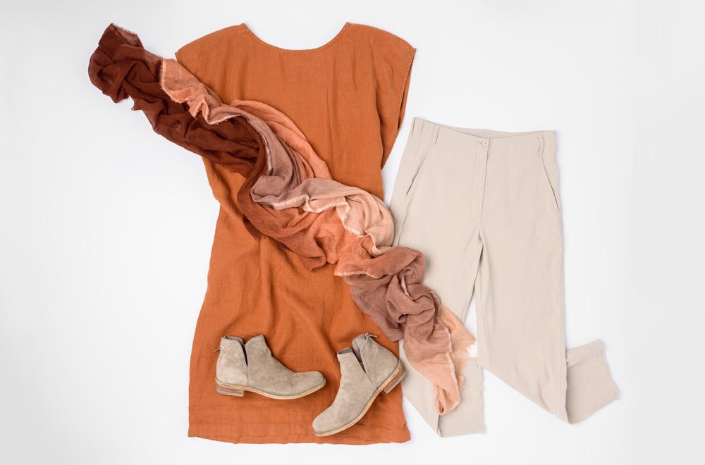 Annette Görtz Tan Pants, Black Crane Rust Linen Dress, Faliero Sarti Ombre Orange Scarf, and Officine Creative Brown Leather Boots | Santa Fe Dry Goods & Workshop