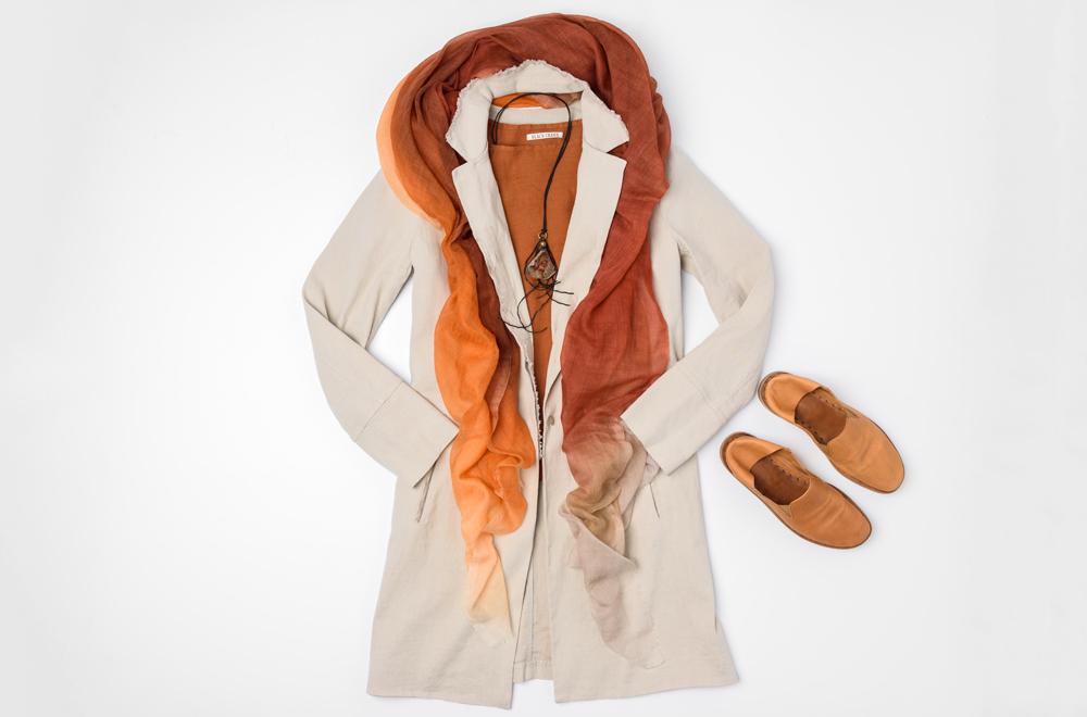 Annette Görtz beige jacket, Black Crane Rust linen shirt, Faliero Sarti Orange ombre scarf, Lou Zeldis amber necklace, and Officine Creative brown leather shoe | Santa Fe Dry Goods & Workshop