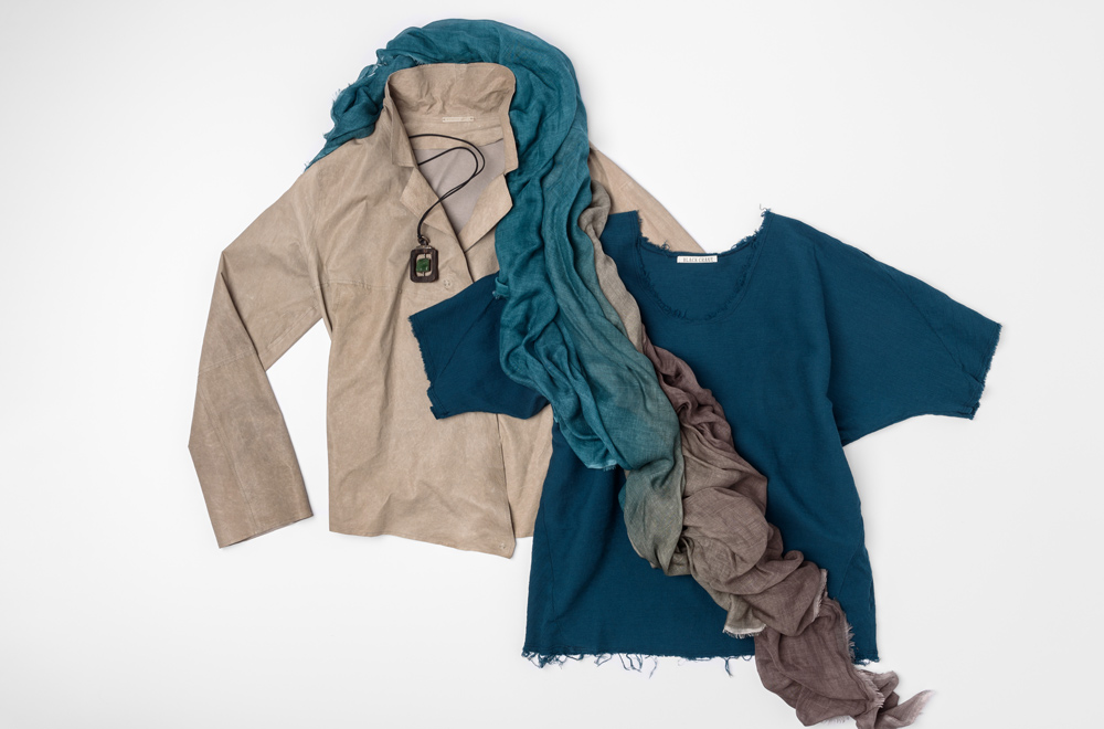 Annette Görtz grey leather jacket, Black Crane Teal linen shirt, Faliero Sarti blue and grey ombre scarf, and Lou Zeldis necklace | Santa Fe Dry Goods & Workshop