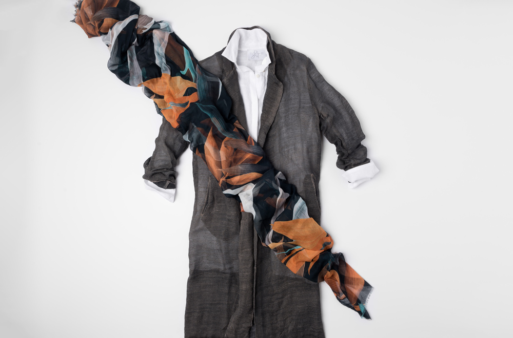 Avant Toi sheer loose weave linen grey duster, Shi white cotton button-up shirt, and Som Les Dues black leaf scarf | Santa Fe Dry Goods & Workshop