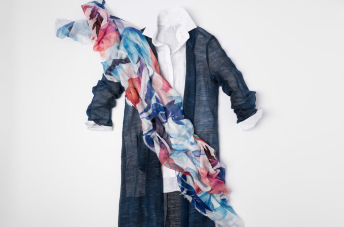 Avant Toi Blue linen Duster Cardigan, Shi White button up shirt, and Som Les Dues blue and red scarf