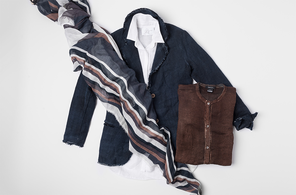 Avant Toi blue linen blazer, Avant Toi brown linen cardigan, Shi white cotton button-up shirt, and Som Les Dues stripe scarf | Santa Fe Dry Goods & Workshop