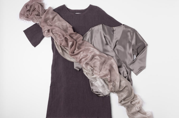 Toogood grey linen/ramie dress, Peter Cohen grey silk blouse, and Faliero Sarti shimmer finish scarf | Santa Fe Dry Goods & Workshop