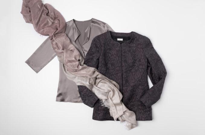 Dries Van Noten Grey Floral Textured jacket, Peter Cohen grey silk blouse, and Faliero Sarti shimmer scarf | Santa Fe Dry Goods & Workshop