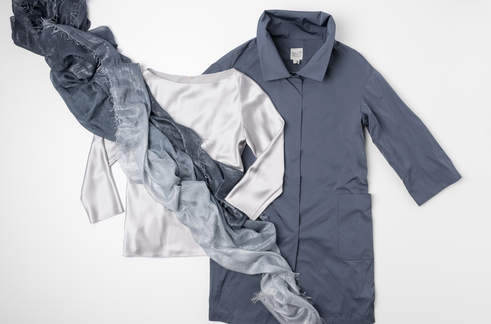 Pauw blue-grey jacket, Peter Cohen silver silk top, and Faliero Sarti blue shimmer scarf | Santa Fe Dry Goods & Workshop