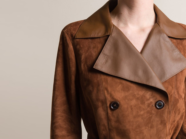 New Akris Lamb Suede and Leather Mailand Coat in Copper | Santa Fe Dry Goods & Workshop