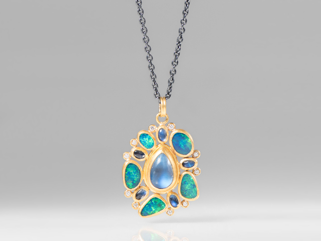 New Lika Behar 24K, Diamond, Moonstone, Opal Ocean Necklace | Santa Fe Dry Goods & Workshop