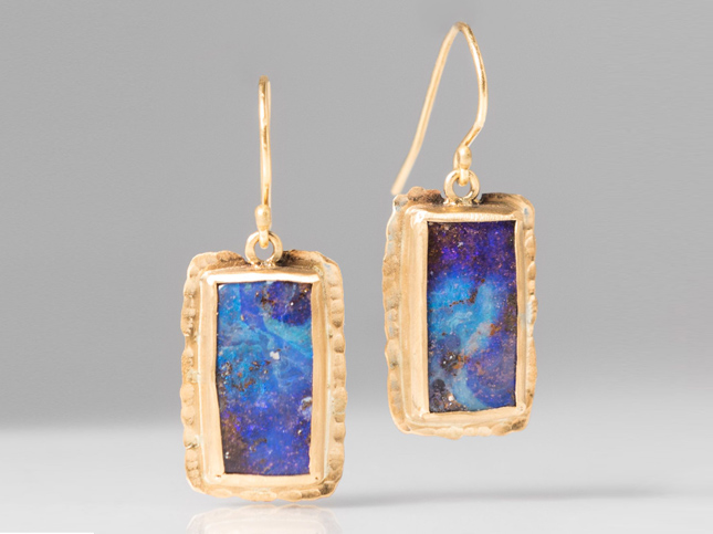 New Margery Hirschey 22K & Boulder Opal Drop Earrings | Santa Fe Dry Goods & Workshop