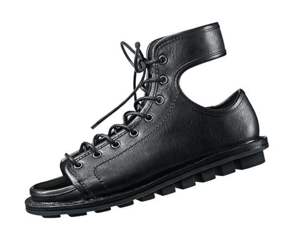 Trippen McCoy Black Leather Lace-Up Sandal with Stick Sole   Santa Fe Dry Goods & Workshop