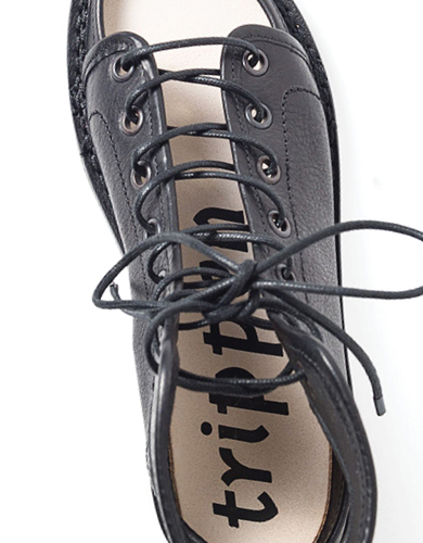 Trippen McCoy Black Leather Lace-Up Sandal with Pamir Sole | Santa Fe Dry Goods & Workshop