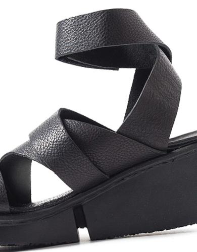 Trippen Film Black Leather Sandal with Splitt Wedge Sole | Santa Fe Dry Goods & Workshop