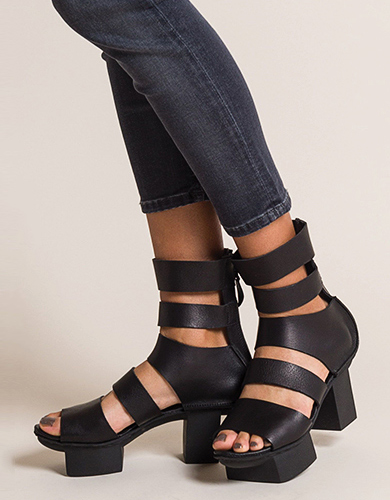 Trippen Strong Black Leather Sandals with Happy Sole   Santa Fe Dry Goods & Workshop