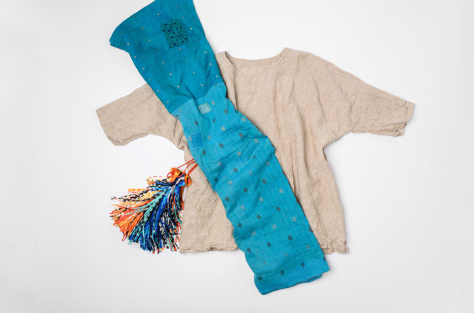 Daniela Gregis Natural Linen Shirt, Mieko Mintz Blue Silk Scarf, and Issey Miyake Pleats Please Multicolor Fringe Handbag | Santa Fe Dry Goods & Workshop